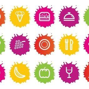 Colorful Splash Style Food Icons