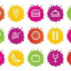 Colorful Splash Style Food Icons