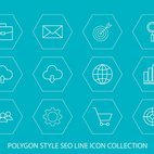 Polygon Shaped Seo Line Icon Collection