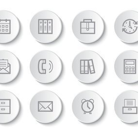 Business/Office Button Icon Collection