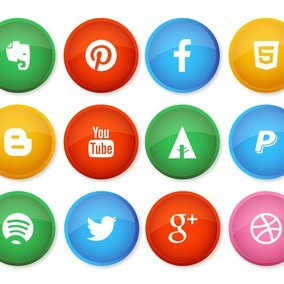 Colorful Social Media Button Style Icons