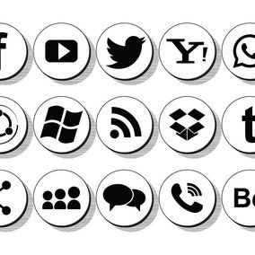 Retro Style Socila Media Icon Collection