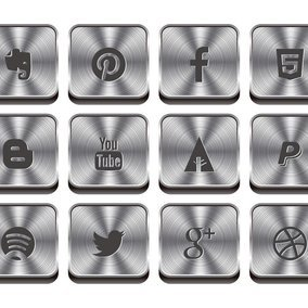 Metal Style Social Media Icon Collection