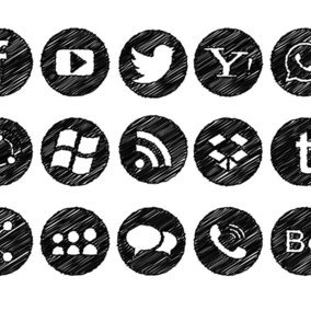 Messy Scribble Style Social Icon Collection