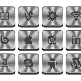 Awesome Metal Syle Social Icon Collection