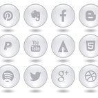 Social Media Glass Style Button Icon Collection