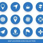 Blue Map Location Icon Collection