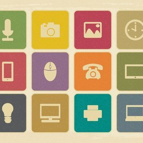 Vintage Retro Style Technology Related Icon Collection