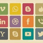 Retro Vintage Style Social Media Icon Collection