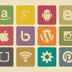 Vinntage Retro Style Social Media Icon Collection