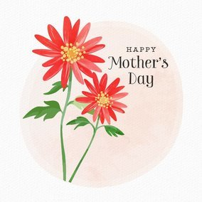 Happy Mother's Day Watercolor Card With Red Flowers