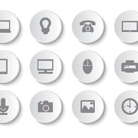 Technology Related Buttom Style Icon Collection