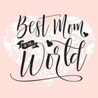 Small 1x best mom in the world black hand drawn typography