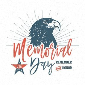 Memorial Day Hand Drawn Typographic Vector Card
