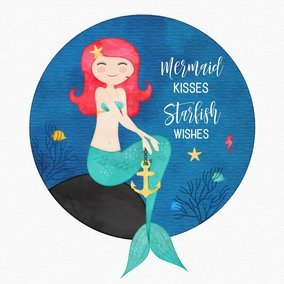 Cute Cartoon Watercolor Drawing Of A Mermaid In The Sea