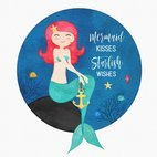 Small 1x cute cartoon watercolor drawing of a mermaid in the sea