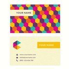 Small 1x business card vector template with colorful cubes pattern
