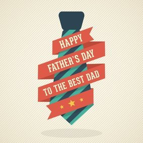 Happy Father's Day Vector Card With Necktie