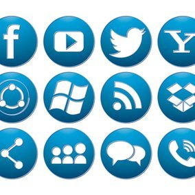 Blue Button Style Social Media Icon Collection