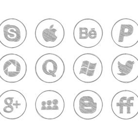 Pencil Drawn Social Media Icon Collection