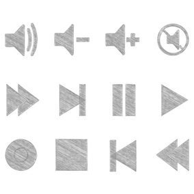 Sketchy Media Player Button Icons