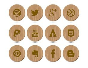 Wood Style Social Media Icon Collection