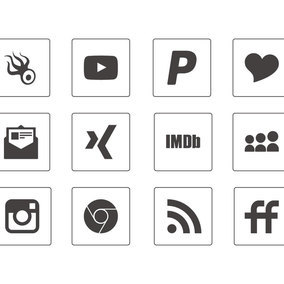 Thin Square Social Media Icon Collection