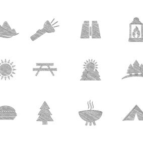 Sketchy Style Camping Icon Collection