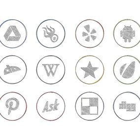 Drawn Pencil Style Social Icon Collection