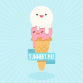 Cute Cartoon Ice Cream Cone Character