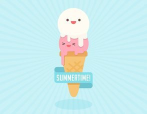 Cute Cartoon Ice Cream Cone Character