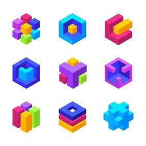 Colorful 3D Geometric Cubes