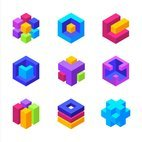 Small 1x colorful 3d geometric cubes