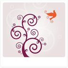 Small 1x swirly bird vector