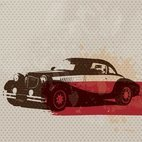 Small 1x retro car card
