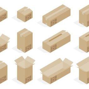 Isometric Cardboard Box Vectors