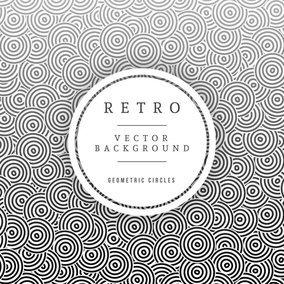 Geometric Circles Retro Vector Background