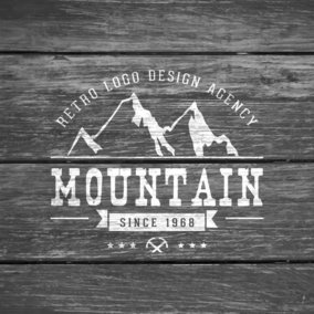 Retro Logo On Grey Wooden Background